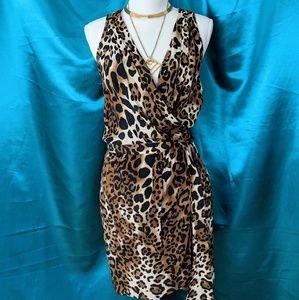 Nanette Lepore Leopard Sleeveless Silk Dress
